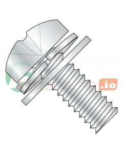 "4-40 x 1/2"" Double SEMS Screws / Narrow Flat & Split Washers / Phillips / Pan Head / Steel / Zinc / Flat Washer OD = 1/4 (Quantity: 10,000 pcs)"