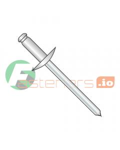 "1/8"" x .03""-.12"" (#42) Large Flange Blind Rivets / Stainless Steel Body / Steel Mandrel / Barrel Length: .275"" (Quantity: 10,000 pcs)"