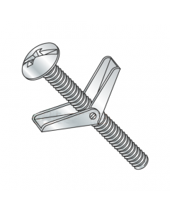 """1/8"""" x 3"""" Toggle Bolts / Mushroom Head / Combo Drive / Steel / Zinc / Anchor Size: 1/8"""" / Screw Size 6-32 x 3"""" / Drill Bit / Hole Size: 3/8"""" (Quantity: 50 pcs)"""