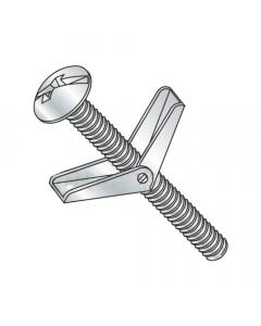 """1/8"""" x 4"""" Toggle Bolts / Mushroom Head / Combo Drive / Steel / Zinc / Anchor Size: 1/8"""" / Screw Size 6-32 x 4"""" / Drill Bit / Hole Size: 3/8"""" (Quantity: 50 pcs)"""