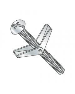 "1/8"" x 2"" Toggle Bolts / Round Head / Combo Drive / Steel / Zinc / Anchor Size: 1/8"" / Screw Size 6-32 x 2"" / Drill Bit / Hole Size: 3/8"" (Quantity: 50 pcs)"
