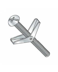 "1/8"" x 3"" Toggle Bolts / Round Head / Combo Drive / Steel / Zinc / Anchor Size: 1/8"" / Screw Size 6-32 x 3"" / Drill Bit / Hole Size: 3/8"" (Quantity: 50 pcs)"