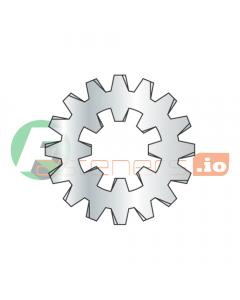 "#4 Internal / External Tooth Lock Washers / Steel / Zinc / Outer Diameter: .460"" - .475"" / Thickness Range : .016"" - .021"" (Quantity: 10,000 pcs)"