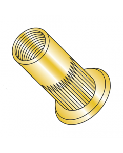 M5-0.8 (Max Grip 3.2mm) Large Flange Ribbed Blind Threaded Inserts / Steel / Zinc Yellow (Quantity: 2,000 pcs)