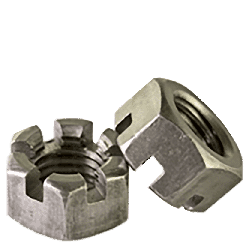 "1/2""-13 Slotted Finished Hex Nuts / Steel / Plain (Quantity: 25)"
