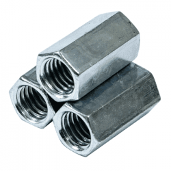 "3/4""-10 x 2 1/4"" (1"" AF) Hex Coupling Nuts / A563 Grade A Steel / Hot Dip Galvanized (Quantity: 100)"