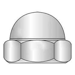 M6-1.00 Closed End Acorn Nuts / Low Crown / Class 6 Steel / Zinc Plated / DIN 1587 (Quantity: 200)