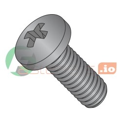 M1.6-0.35 x 12 mm Machine Screws / Phillips / Pan Head / Steel / Black Oxide / DIN7985A (Quantity: 8,000 pcs)