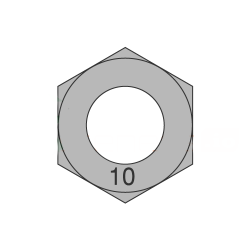 M10-1.50 Finished Hex Nuts / Metric Class 10 / Plain / DIN 934 (Quantity: 100)