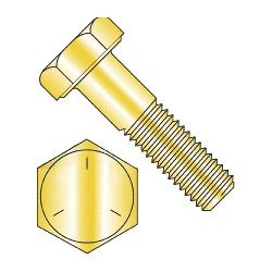 "7/16""-20 x 1"" Hex Cap Screws Grade 5 Yellow Zinc Plated Steel  (Quantity: 100 pcs) Fully Threaded UNF Fine Thread (Thread Size: 7/16"") x (Length: 1"")"