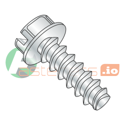 "1/4"" x 2"" Plastite Style Thread Forming Screws / Slotted / Hex Washer Head / Steel / Zinc (Quantity: 1,000 pcs)"