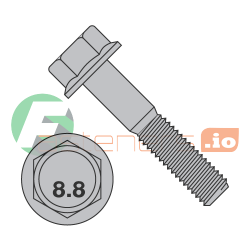 M12-1.75 x 80 mm Hex Flange Bolts / Non-Serrated / Grade 8.8 / Plain / DIN6921 (Quantity: 100 pcs)