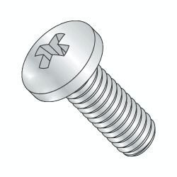 M6-1.00 x 10mm Machine Screws / Phillips / Pan Head / Steel / Zinc Plating (Quantity: 250 pcs)